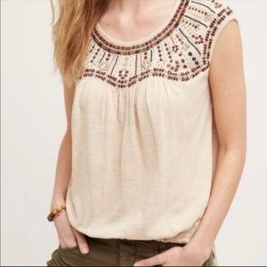 Anthropologie Akemi+Kin Size S  Embroidered Top